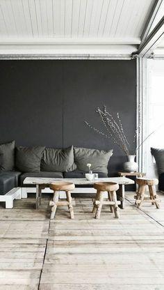 murs gris pour le salon chic, sol en bois
