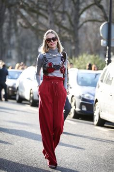 84 Outfit Ideas For Style Extroverts #refinery29  http://www.refinery29.com/2015/03/83675/paris-fashion-week-2015-street-style#slide-62  Let your turtleneck be the foundation, and layer everything else — your necklace, your tank, and even the drawstring waist of your sweats — over it. ...