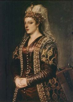 The lady in the turkish attire was Caterina Cornaro (1454-1510) by Titian/Tiziano. She was the daughter of one of the most influent families in the Republic of Venice. She married the King of Cyprus and Armenia and when he died Cyprus got under the venetian influence with her as a queen. In 1489 she abdicated in favor of the Republic of Venice.