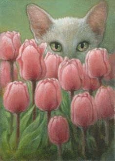 Cat behind Tulips Painting