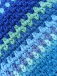 The idea is just to keep on going as long as the yarn lasts, the pattern is 1dc 1 ch, then the next row you work the double crochet into the one chain space and then a chain, so it all interlocks and gives a lovely dense yet flexible fabric which is soft and very warm.