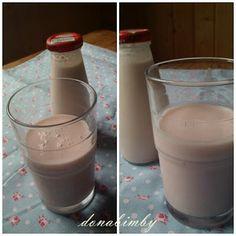 Iogurte liquido de banana e morango