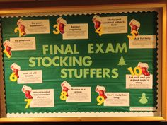 Final Exam Stocking Stuffers - educational bulletin board on final exam study tips for the month of December *Idea and information from reslife.net