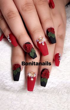 Black and red nails, wtih pearls and red acrylic roses Nail Art~! Black and red nails, wtih pearls and red acrylic roses Nail Art~! Rose Nail Design, Rose Nail Art, Red Nail Designs, Rose Nails, 3d Nail Art, 3d Nails, Flower Nails, Acrylic Nail Designs, Nails Design