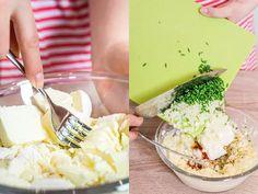 pikantní sýrová pomazánka -VYBORNE sýr nastrouhat nahrubo,postupně zpracovat ruč.mixerem.Výborné Camembert Cheese, Mashed Potatoes, Dairy, Cooking, Ethnic Recipes, Food, Treats, Whipped Potatoes, Kitchen