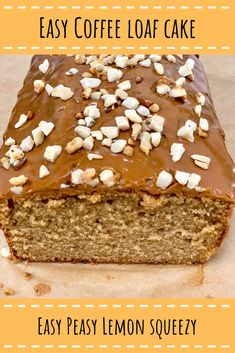 Cake Recipes Uk, Bakery Recipes, Banana Bread Recipes, Sweet Recipes, Cake Receipe, Loaf Recipes, Coffee Cake Loaf, Loaf Cake, Easy Delicious Recipes