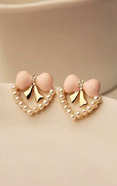 Heart pink bow pearl earrings