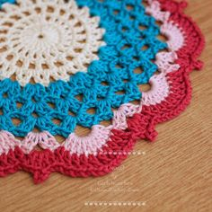 Designer Inspired Cream, Blue and Pink Large Cotton Crochet Doily