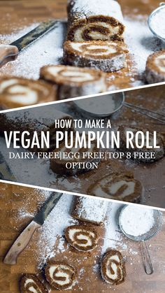 Pumpkin Roll Ways) - We are showing you how to make the perfect vegan fall dessert in this delicious vegan pumpkin roll. With two different vegan filling options. Vegan Dessert Recipes, Gourmet Recipes, Best Vegan Desserts, Raw Recipes, Brunch Recipes, Best Vegan Chocolate, Vegan Treats, Vegan Snacks, Vegan Dinners
