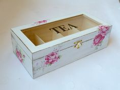 Wooden Tea Box Tea Storage Box Rustic Tea bag by SayaArtDesign Tea Bag Storage, Storage Boxes, Wooden Tea Box, Wooden Boxes, Shabby Chic Style, Shabby Chic Decor, Painted Boxes, Gadget Gifts, Diy Box