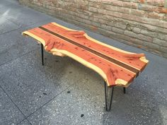 Bookmatched Red Cedar Live Edge Coffee Table - Designed and built by Ming Wang & Pasadenaville Cedar Furniture, Live Edge Furniture, Loft Furniture, Iron Furniture, Rustic Furniture, Western Furniture, Furniture Design, Outdoor Furniture, Industrial Table Legs