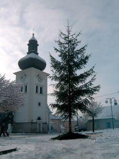 Štěpánov nad Svratkou-smrk zasazený uprostřed náměstí-vánoční