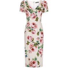 Dolce & Gabbana Floral Pencil Dress (€1.805) ❤ liked on Polyvore featuring dresses, pink pencil dress, pink dress, dolce gabbana dress, flower printed dress and flower print dress