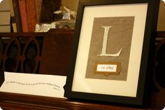 Family initial & date established.  Totally doing this for our entry way wall gallery!