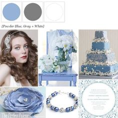 powder blue, gray and white  http://www.theperfectpalette.com/2012/05/sweet-soirre-powder-blue-gray-white.html
