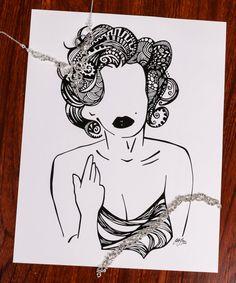 Zentangle M.Monroe by DesignsByBlynn on Etsy