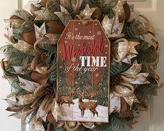 Wreaths, Decor & More by TiraMercantile Valentine Day Wreaths, Deco Mesh Wreaths, Holiday Wreaths, Rustic Wreaths, Christmas Decorations, Door Wreaths, Christmas Ideas, Christmas Porch, Farmhouse Christmas Decor