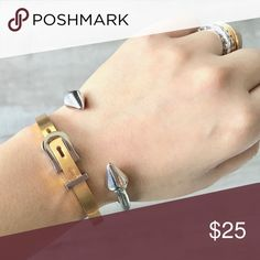 Set of Two Get this set for the price listed! Belt bracelet material is stainless steel, gold and silver color. The other is silver color, last two pieces available! They look so chic ! New !! Jewelry Bracelets