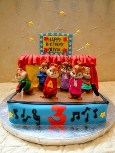 Alvin and the Chipmunks stage cake - love the curtain!
