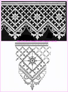 Bildergebnis für motifs et bordures au crochet Crochet Boarders, Crochet Lace Edging, Crochet Motifs, Crochet Diagram, Crochet Stitches Patterns, Crochet Chart, Lace Patterns, Thread Crochet, Crochet Designs