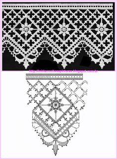 BORDURA MIRIA CROCHÊS E PINTURAS: RENDAS DE CROCHÊ N°448 filet crochet edging pattern