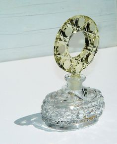 Morlee Crystal Scent Bottle / Bohemian Crystal Perfume.