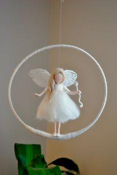 Birthday Gift /Nursery Mobile / Wall Hanging Fairy : White fairy with Crystal w…. Birthday Gift /Nursery Mobile / Wall Hanging Fairy : White fairy with Crystal w… – Wool Dolls, Felt Dolls, Wet Felting, Needle Felting, Felt Angel, Felt Fairy, Flower Fairies, Fairy Dolls, Mobiles