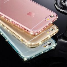 Luxury Ultra Thin Crystal Diamond Bling Gel Transparent Mobile Phone Case Cover for iPhone 5 6 Plus Cover case back bags - Rim Style Iphone 5s, Iphone 8 Plus, Iphone Cases, Ios Phone, Mobile Phone Cases, New Ipad, Smartwatch, 6s Plus, Cover