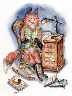 Mr. Fox- Art Print - mr. fox victorian office desk arm chair desk books library brown, Nursery, baby shower, Whimsical , cottage