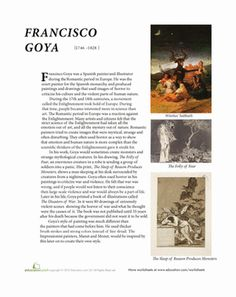 Learn more about the power of art in this worksheet on Spanish painter Francisco Goya.