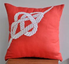 Coral pillow with white rope on etsy - perfect for a nautical nursery - White Nautical Rope Decorative Pillow Cover  by KainKain on Etsy