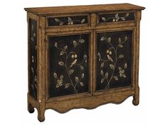 Shop for Stein World Lucca Cabinet, 26316, and other Living Room Cabinets at Priba Furniture And Interiors in Greensboro, NC. Narrow cupboard with two doors, two drawers, scalloped apron in an aged crackle brown and black finish with bird and vine detailing.