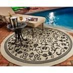 Courtyard Sand/Black (Brown/Black) 6 ft. 7 in. x 6 ft. 7 in. Indoor/Outdoor Round Area Rug