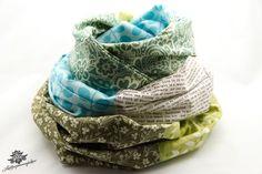 Gute-Laune-Patchwork-Loop in weiß, braun, türkis und grün aus der Lieblingsmanufaktur: Lieblingsstücke für den Alltag auf DaWanda.com