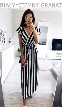 Zjawiskowa Dluga Sukienka Maxi W Paski Dekolt P582 7411430007 Oficjalne Archiwum Allegro Dresses Fashion Striped