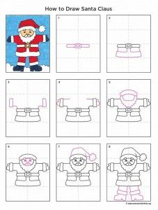 Santa Claus Drawing · Art Projects for Kids- Christmas, Drawing, Holiday, Holiday Themes, How to Draw Tutorials Christmas Art Projects, Christmas Arts And Crafts, Winter Art Projects, Kids Christmas, Projects For Kids, Holiday Crafts, Holiday Themes, Santa Claus Drawing Easy, Drawing Santa