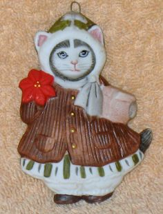 New Kitty Cucumber Ellie dressed in Christmas coat ornament by Catloversdream on Etsy