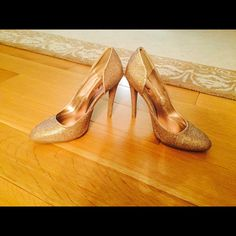 Gold Sparkle Closed Toed Shoes