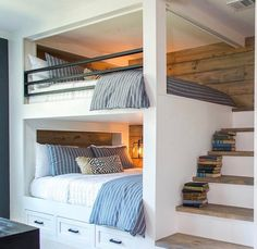 Bunk beds design and room ideas. Most amazing bunk beds for kids. Designing bunk beds that you might like. Bunk Bed Rooms, Bunk Beds Built In, Bunk Beds With Stairs, Adult Bunk Beds, Teen Bunk Beds, Loft Bedrooms, Bed Stairs, Double Bunk Beds, Modern Bunk Beds