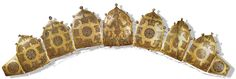 12 or 13th C. Sakhnivka Diadem.  Gold, cloisonne, pearls. Plaques held together by pins or hinges. Central plaque shows Alexander the Great between Griffins Buried on or around 1240 in Ukraine, probably because of the threat of invading Mongols.