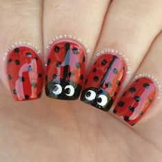 why not have ladybug nails? Nails For Kids, Girls Nails, Hot Nails, Hair And Nails, Gorgeous Nails, Pretty Nails, Ladybug Nails, Romantic Nails, Special Nails