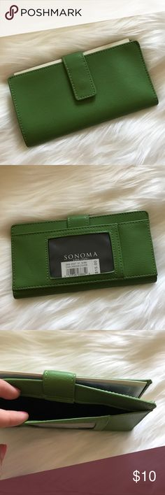 Sonoma Green Checkbook & Credit Card Wallet Brand new green wallet. Snap closure. Sonoma Bags Wallets