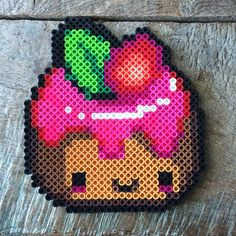 Kawaii cake perler beads by morbesety