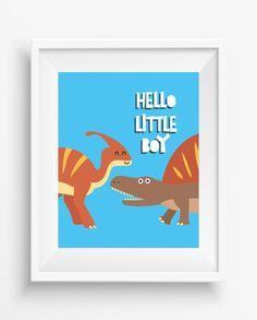 Hello Little Boy,Dinosaur Print,Dinosaur Wall Decor,Dinosaur Art,Nursery Decor,digital Prints,Playroom Decor,Fun Nursery Art,Baby…