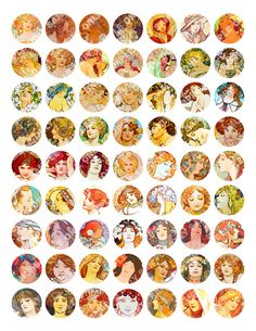 Alphonse Mucha Art Noveau Girls Bottle Cap Images by maARTeSouk, $2.95