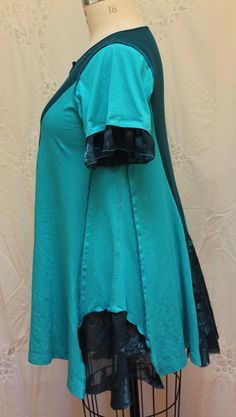 Upcycled womens tunic Bohemian clothing XL one of a par MilaLem
