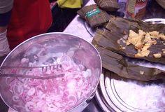 Peruvian tamales with salsa criolla.
