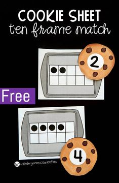 This cookie sheet ten frame matching game is perfect to have on hand in your Pre-K or Kindergarten classroom for learning to match ten frames to numerals! Kindergarten Lesson Plans, Kindergarten Centers, Preschool Math, Math Classroom, Math Math, Maths, Fun Math, Free Kindergarten Math Games, Kindergarten Independent Work