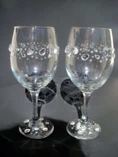 for sale on etsy- rhinestone and glitter wine glasses