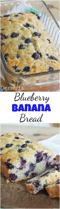 Blueberry Banana Bread - A tender and moist banana bread full of blueberries. Use fresh or frozen to make this any time of year! #bananabread #baking #quickbread #muffins #bananas #blueberries